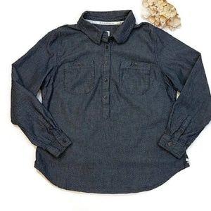 TOMS Button Front Blue Polka Dot Long Sleeve Shirt
